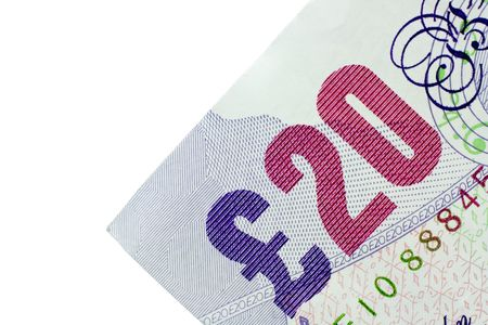 Close-up of 20 Pound note isolated on a white background Stock Photo