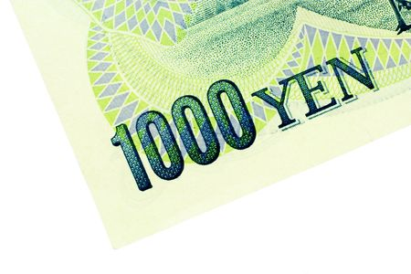 yen: Close-up of 1000 Yen note isolated on a white background