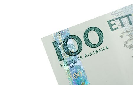 Close-up of 100 Swedish Kronor (SEK) banknote isolated on a white background