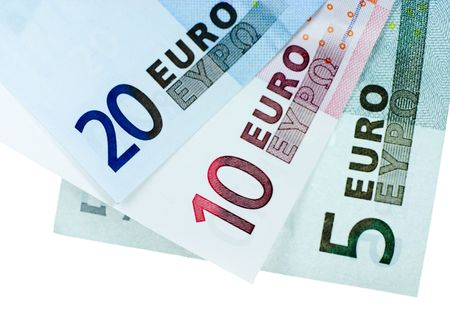20 euro: Close-up of 5, 10, and 20 Euro bill isolated on a white background