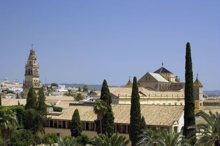 andalucia: View of the Mezquita in Cordoba from the Alcazar. Stock Photo