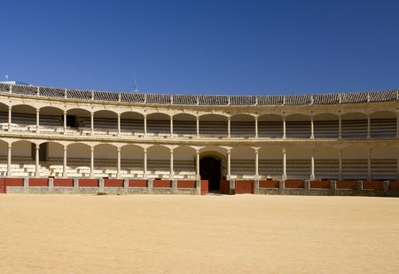seating area: Famous bullring in Spain, showing the seating area.