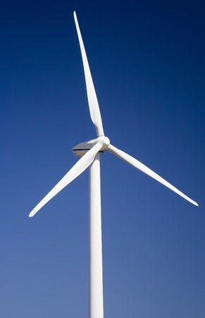 Wind turbine close-up with a deep blue sky. Stock Photo - 1692867