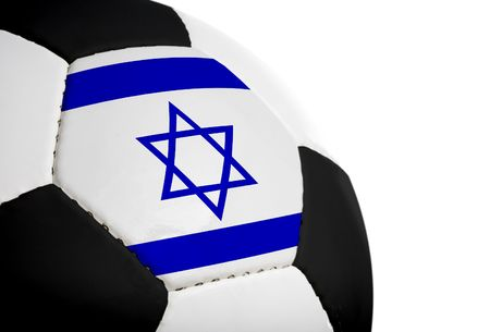 israeli: Israeli flag paintedprojected onto a football (soccer ball).  Isolated on a white background.