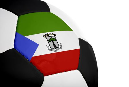 equatorial: Equatoria Guinean flag paintedprojected onto a football (soccer ball).  Isolated on a white background.