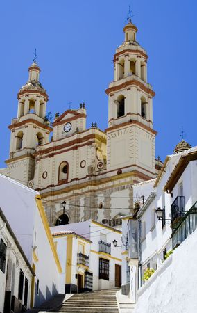 neoclassic: Neoclassic cathedral in Olvera, Spain.  Olvera is a white village (pueblo blanco) in Cadiz province, Andalucia.