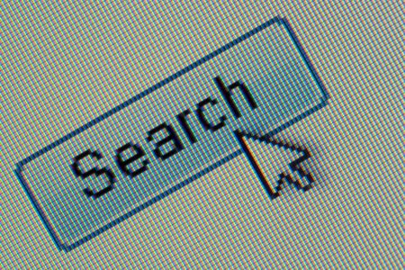 search button: Macro of a web search button with pointer.
