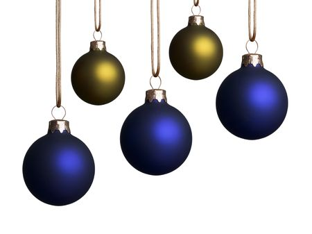 Five blue and gold christmas ornaments hanging isolated on a white background.
