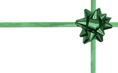 Green bow and ribbon isolated on a white background - with copy space