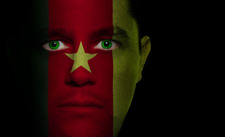 cameroonian: Cameroonian flag paintedprojected onto a mans face Stock Photo