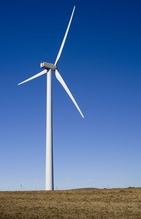 Wind turbine standing in a field in central Spain. Stock Photo - 2067146