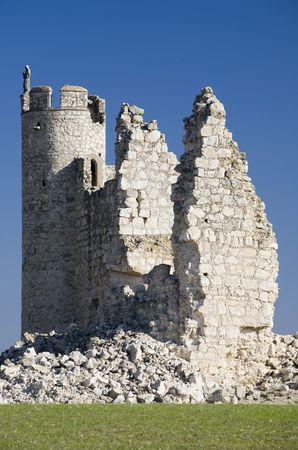 Image of Christ upon a tower of the ruins of Caudilla castle (Castillo de Caudilla) near Toledo, Castilla La Mancha, Spain photo