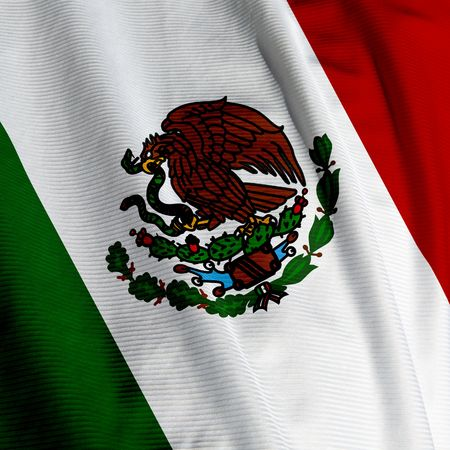 Close up of the Mexican flag, square image