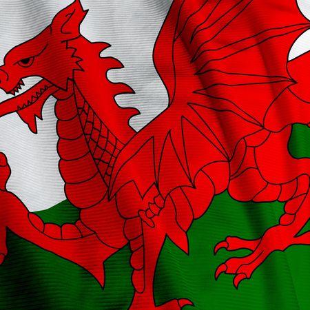 welsh flag: Primo piano della bandiera gallese, piazza immagine