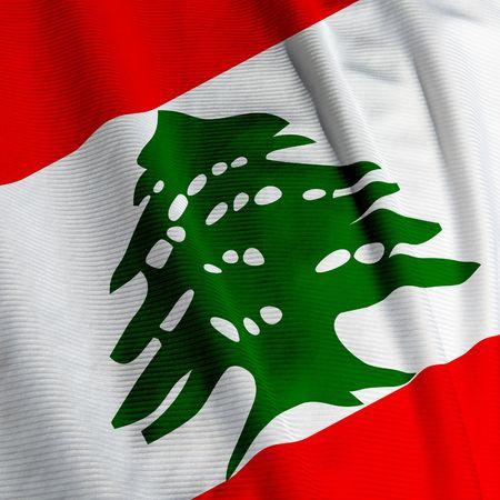 Close up of the Lebanese flag, square image photo