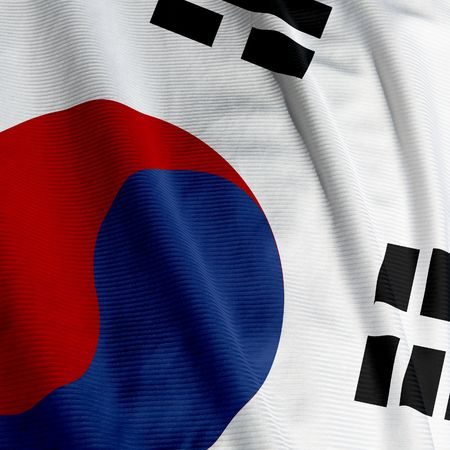 square: Close up of the South Korean flag, square image