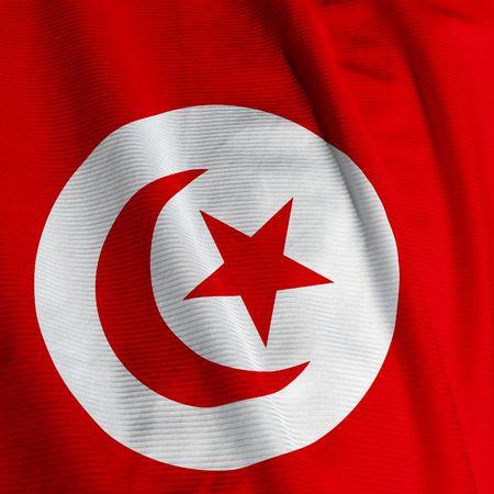 Close up of the Tunisian flag, square image Stock Photo - 2512266