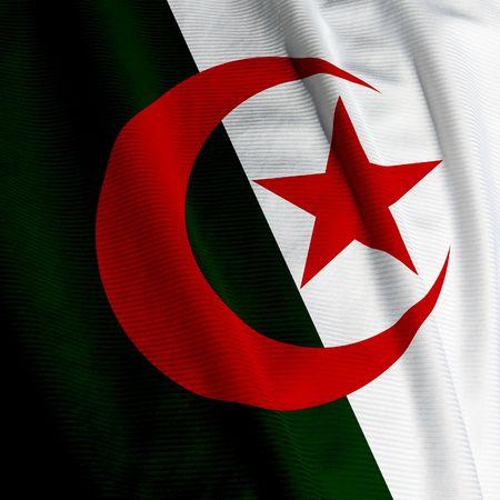 algerian flag: Close up of the Algerian flag, square image
