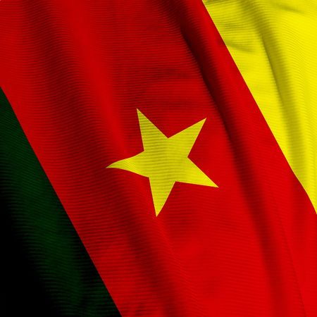 cameroonian: Close up of the Cameroonian flag, square image