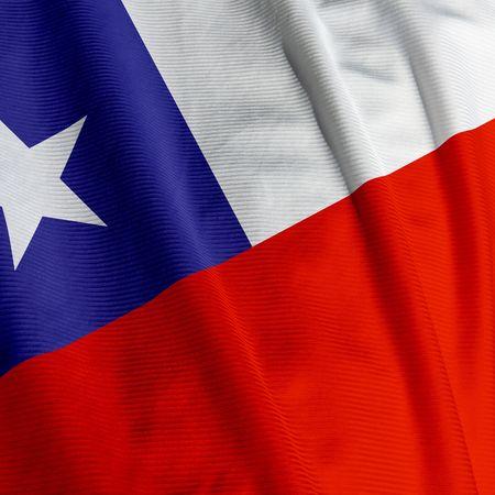 bandera chilena: Cierre de la bandera chilena, imagen cuadrada