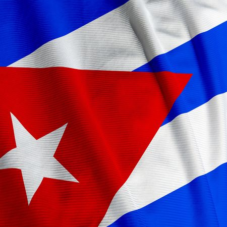 Close up of the Cuban flag, square image photo