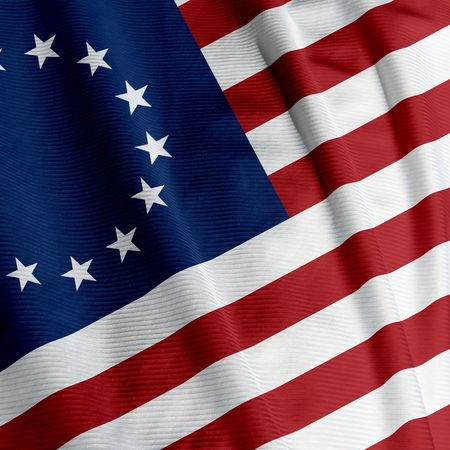Closeup of the Betsy Ross flag, square image