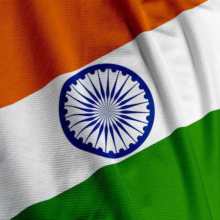 indian fabric: Closeup of the Indian flag, square image Stock Photo