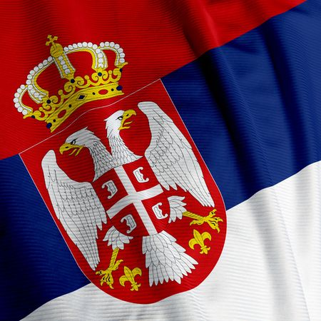 serbia: Closeup of the flag of Serbia, square image