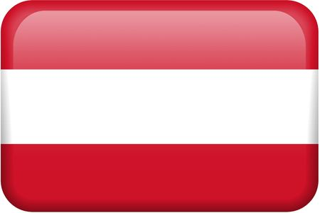 rectangular: Austrian flag rectangular button.  Part of set of country flags all in 2:3 proportion with accurate design and colors.