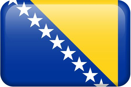 bosnian: Bosnian flag rectangular button.  Part of set of country flags all in 2:3 proportion with accurate design and colors. Stock Photo