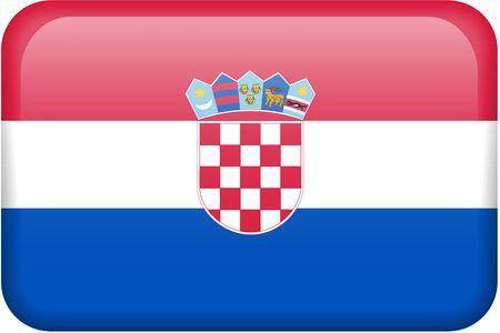 all in: Bandera croata bot�n rectangular. Una parte del conjunto de banderas de todos los pa�ses en proporci�n 2:3 con precisi�n el dise�o y colores.  Foto de archivo