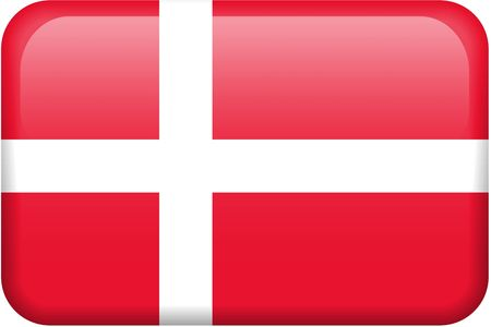 danish: Danish flag rectangular button.  Part of set of country flags all in 2:3 proportion with accurate design and colors.