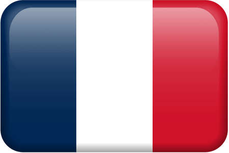 button: French flag rectangular button.  Part of set of country flags all in 2:3 proportion with accurate design and colors.