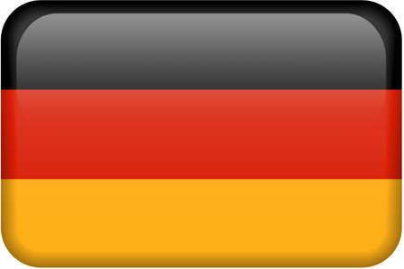 bandera de alemania: Alem�n bandera rectangular bot�n. Parte del conjunto de todas las banderas de los pa�ses en proporci�n 2:3 con precisi�n el dise�o y colores.