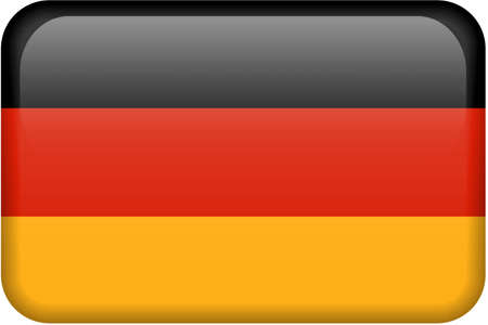 German flag rectangular button.  Part of set of country flags all in 2:3 proportion with accurate design and colors. Stock Photo
