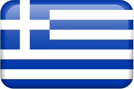 all in: Greek flag rectangular button.  Part of set of country flags all in 2:3 proportion with accurate design and colors.
