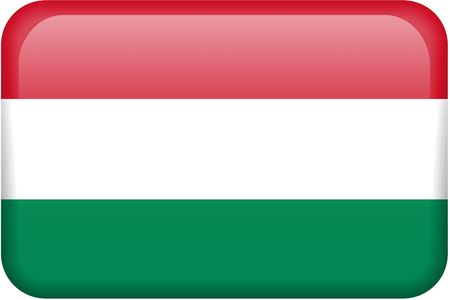 all in: Hungarian flag rectangular button.  Part of set of country flags all in 2:3 proportion with accurate design and colors. Stock Photo