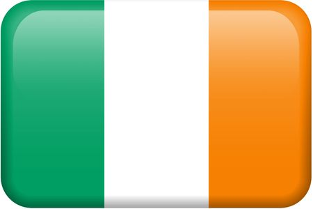 Irish flag rectangular button.  Part of set of country flags all in 2:3 proportion with accurate design and colors. Stock Photo - 2734226