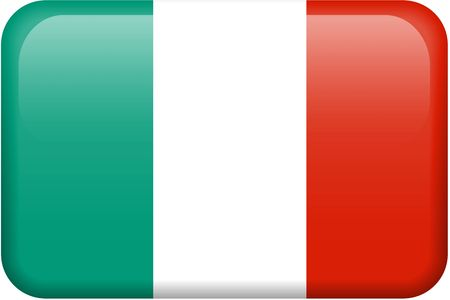 square buttons: Italian flag rectangular button.  Part of set of country flags all in 2:3 proportion with accurate design and colors. Stock Photo
