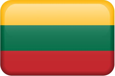 all in: Lithuanian flag rectangular button.  Part of set of country flags all in 2:3 proportion with accurate design and colors.