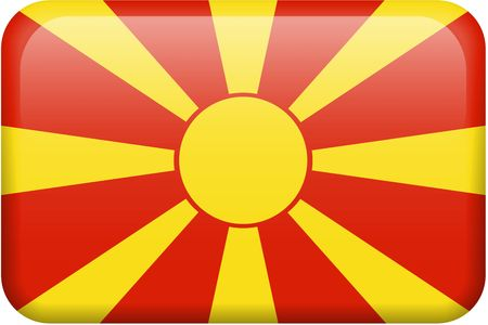 macedonia: Macedonian flag rectangular button.  Part of set of country flags all in 2:3 proportion with accurate design and colors. Stock Photo