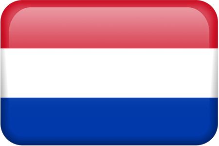 dutch: Dutch flag rectangular button.  Part of set of country flags all in 2:3 proportion with accurate design and colors.