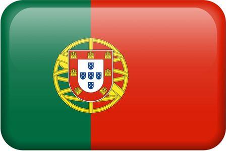 drapeau portugal: Drapeau portugais bouton rectangulaire. Partie de l'ensemble de drapeaux de tous les pays en proportion 2:3 avec pr�cision la conception et de couleurs.