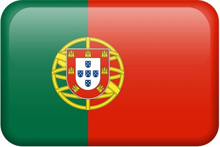 button: Portuguese flag rectangular button.  Part of set of country flags all in 2:3 proportion with accurate design and colors. Stock Photo