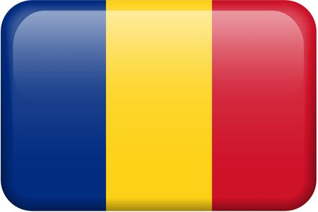 romanian: Romanian flag rectangular button.  Part of set of country flags all in 2:3 proportion with accurate design and colors. Stock Photo