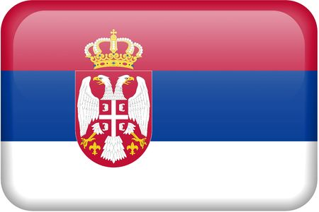 Serbian flag rectangular button.  Part of set of country flags all in 2:3 proportion with accurate design and colors. photo