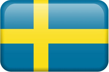 swedish: Swedish flag rectangular button.  Part of set of country flags all in 2:3 proportion with accurate design and colors.