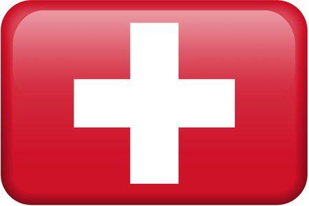 all in: Bandera suiza bot�n rectangular. Una parte del conjunto de banderas de todos los pa�ses en proporci�n 2:3 con precisi�n el dise�o y colores.