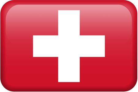 swiss: Swiss flag rectangular button.  Part of set of country flags all in 2:3 proportion with accurate design and colors.