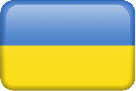 all in: Ucraniano bandera rectangular bot�n. Una parte del conjunto de banderas de todos los pa�ses en proporci�n 2:3 con precisi�n el dise�o y colores.  Foto de archivo
